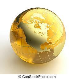 ambre, doré, continents, globe, fond, blanc