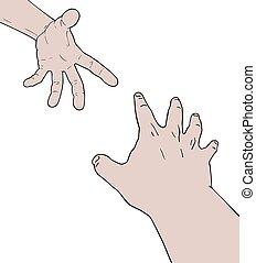 ami, aide, mains