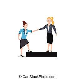 ami, business, help., white., isolé, caractère, donner, femme, plat, illustration, dessin animé, conception, main aidant, concept, chaque, autre.