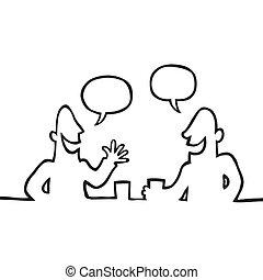 amical, conversation, avoir, deux personnes