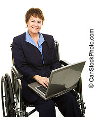 amical, handicapé, femme affaires