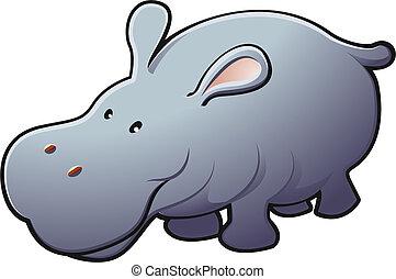 amical, illustration, mignon, hippopotame, vecteur