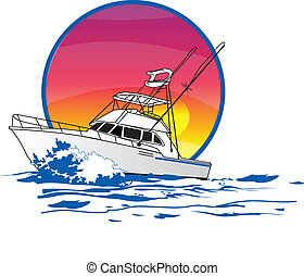 amigo, sportfisher, bateau