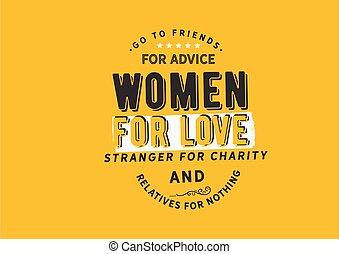 amis, aller, conseil, femmes