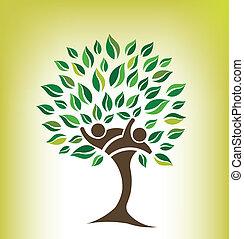 amis, arbre, logo