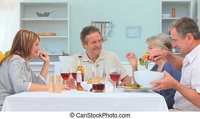 amis, avoir déjeuner, couples