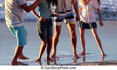 amis, danse, groupe, gai, o