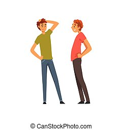 amis, deux, illustration, conversation, vecteur, ensemble, mâle, amitié, mieux