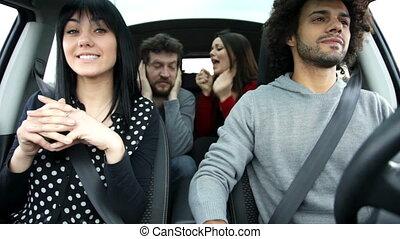 amis, frais, chant, voiture