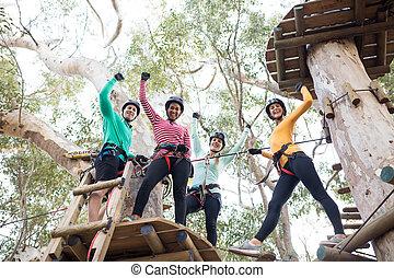 amis, parc, avoir, aventure, amusement