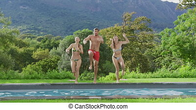amis, piscine, sauter, natation, recours, 4k, ensemble
