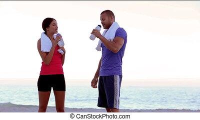 amis, reposer, jogging, après, boire