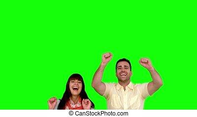 amis, vert, écran, sauter, deux