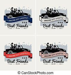 amitié, amis, logo, bannière, ou, mieux, design.