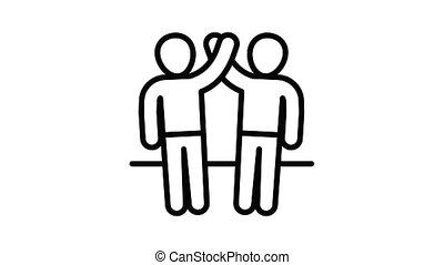 amitié, animation, icône