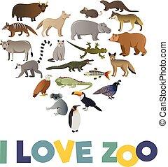 amour, affiche, zoo., vecteur, images, animaux
