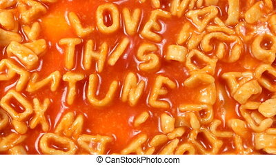 amour, alphabetti, ceci, écrit, spaghetti, air