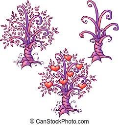 amour, arbre, illustration, vecteur, cœurs, dessin animé