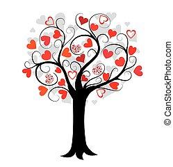 amour, arbre, rouges, cœurs