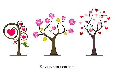 amour, arbres, valentin, symboles, icons., mariage, ou, jour