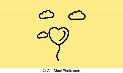 amour, balloon, nuages, ligne amour, formé, coeur, icône, valentin, mouvement, animation., voler, baloon, graphique