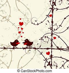 amour, branche, baisers, oiseaux