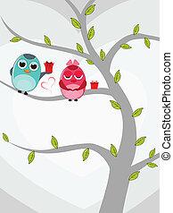amour, cadeau, séance, valentines, arbre, deux, illustration, day., boîtes, vecteur, fond, blanc, oiseaux