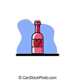 amour, conception, bouteille, conceptuel, vecteur, icône, illustration