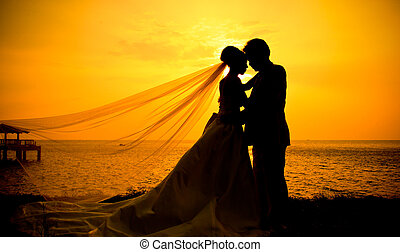 amour, coucher soleil, silhouette, couple