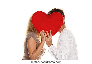 amour, couple, derrière, baisers, heart., aimer, sho