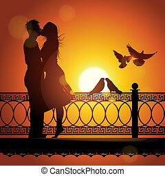 amour, couple, silhouette, coucher soleil, baisers