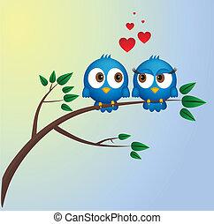 amour, deux oiseaux