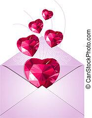 amour, enveloppe, ouvert, cœurs