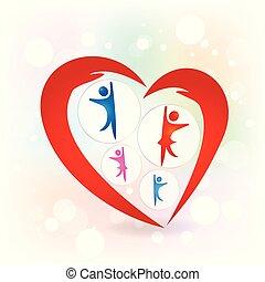 amour, famille, protection, vecteur, mains, logo