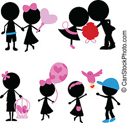 amour, figure, articles, couple, silhouettes, crosse