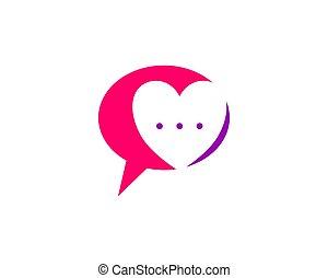 amour, gabarit, conception, bavarder, logo, parler