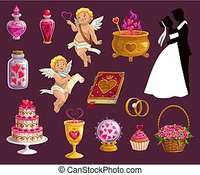 amour, icônes, valentin, mariage, jour mariage