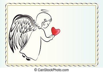 amour, invitational, ange, carte, coeur, prier