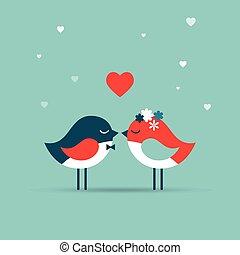 amour, inviter, valentine, carte, salutation, jour, mariage, oiseaux