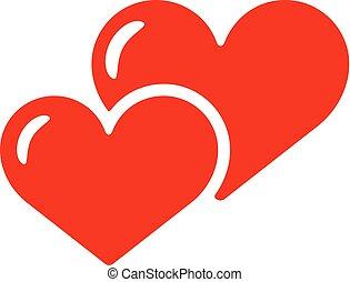 amour, isolated., deux, smbol., vecteur, icône, cœurs, rouges