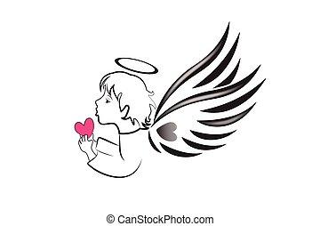 amour, logo, coeur, ange