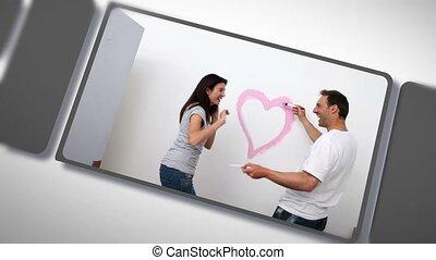 amour, maison, couple, montage