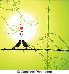 amour, oiseaux, branche, baisers