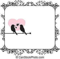 amour, ornements, oiseaux