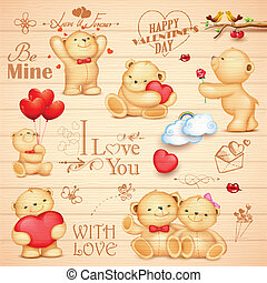 amour, ours, fond, teddy