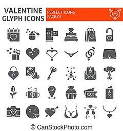 amour, romantique, paquet, ensemble, collection, isolé, valentin, symboles, solide, vecteur, arrière-plan., pictograms, signes, logo, blanc, glyph, croquis, illustrations, icône