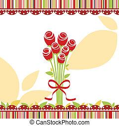 amour, rose, salutation, printemps, carte, fleurs, rouges