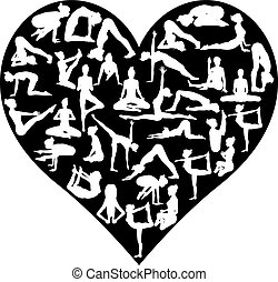 amour, silhouettes, poses, yoga, coeur