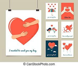 amour, valentine, affiche, salutation, jour, cartes