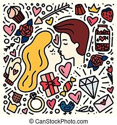 amour, valentine, griffonnage, couple, love., main, symboles, dessiné, concept., jour